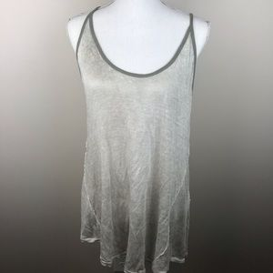 We The Free Linen Tank Top Green, Size Large